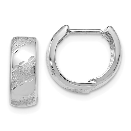 14K White Gold Polished and Satin Hinged Hoop Earrings - 12 mm