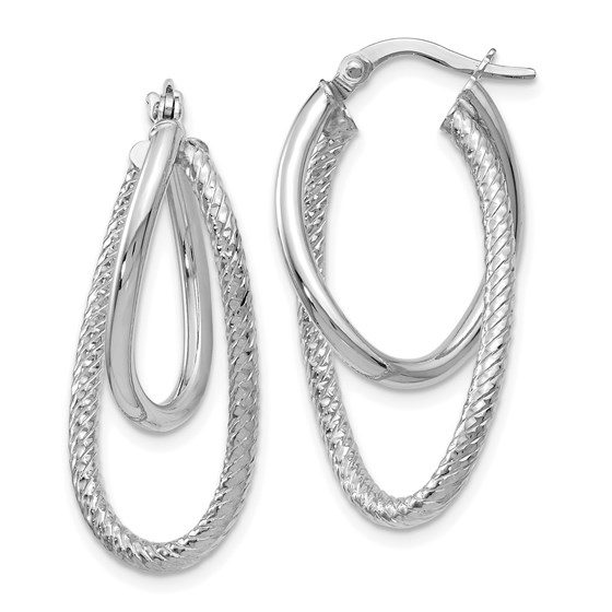 14K White Gold Polished and Textured Hinged Hoop Earrings - 28 mm