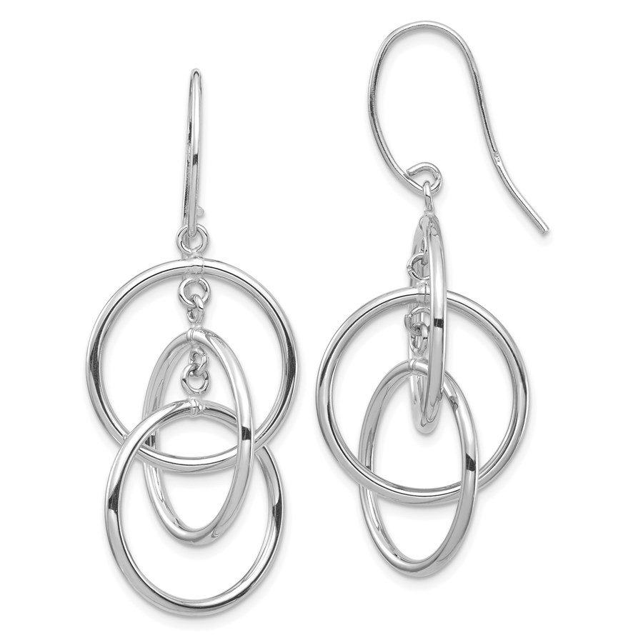 14k White Gold Polished Circles Dangle Earrings