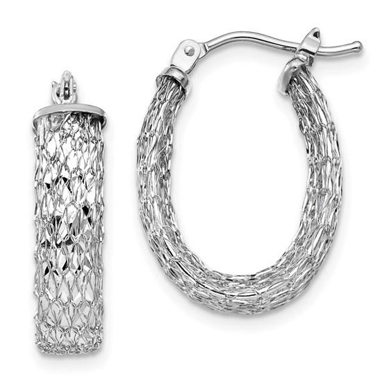 14K White Gold Polished & D/C Oval Hoop Earrings - 21.07 mm