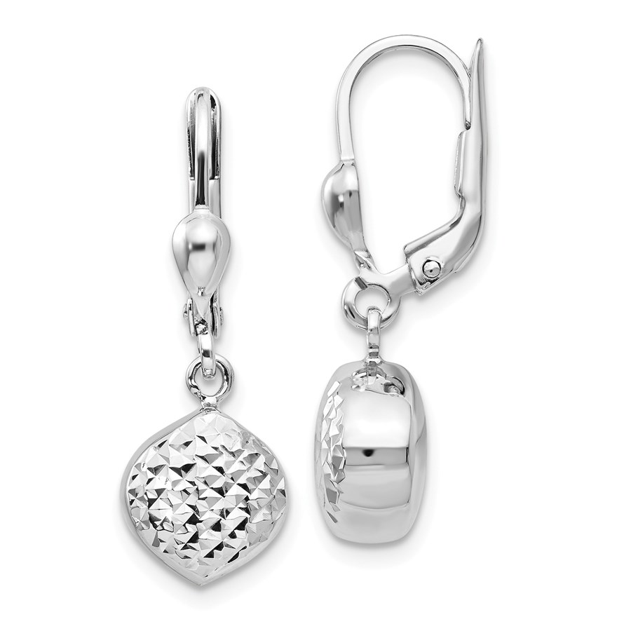 14k White Gold Polished & Diamond-Cut Dangle Leverback Earrings