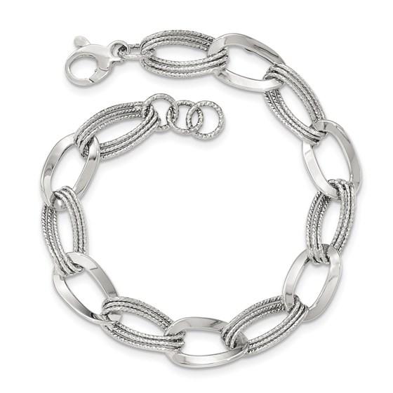 14k White Gold Polished Fancy Link Bracelet