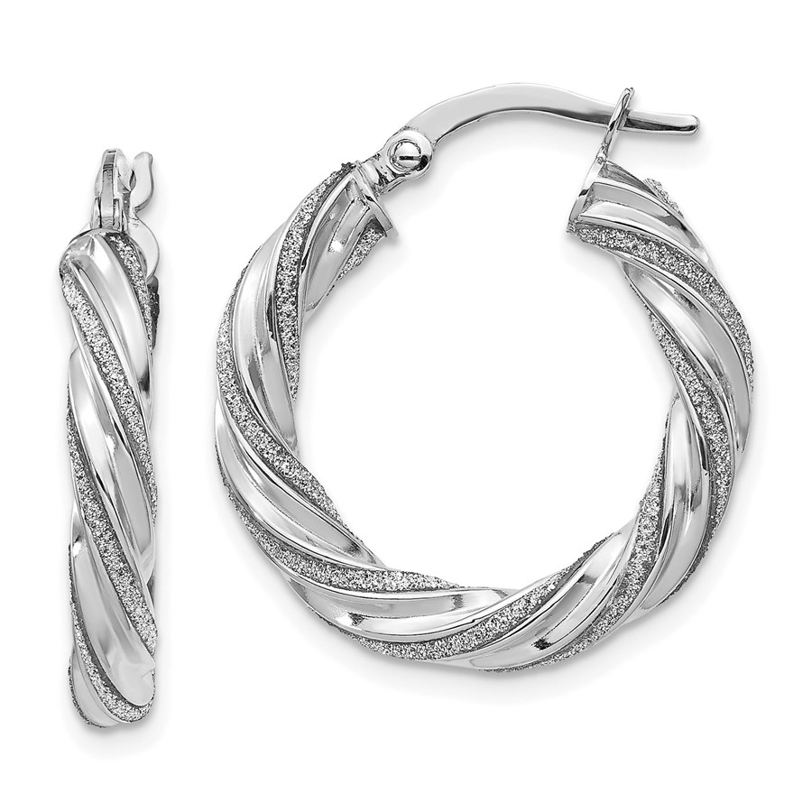 14K White Gold Polished Glimmer Infused Hoop Earrings - 23 mm