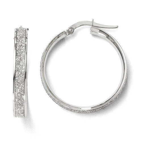 14K White Gold Polished Glimmer Infused Hoop Earrings - 25 mm