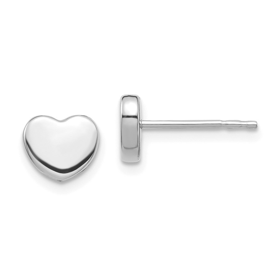 14k White Gold Polished Heart Post Earrings