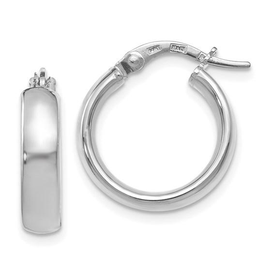 14K White Gold Polished Hoop Earrings - 17.5 mm