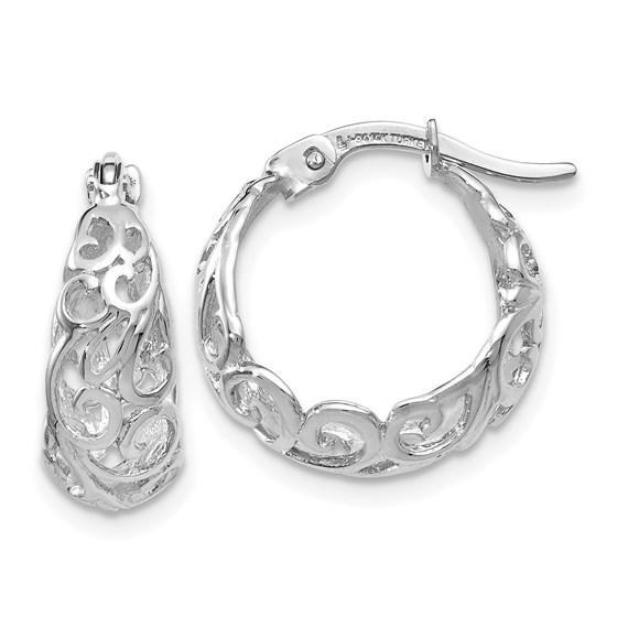 14K White Gold Polished Hoop Earrings - 17 mm