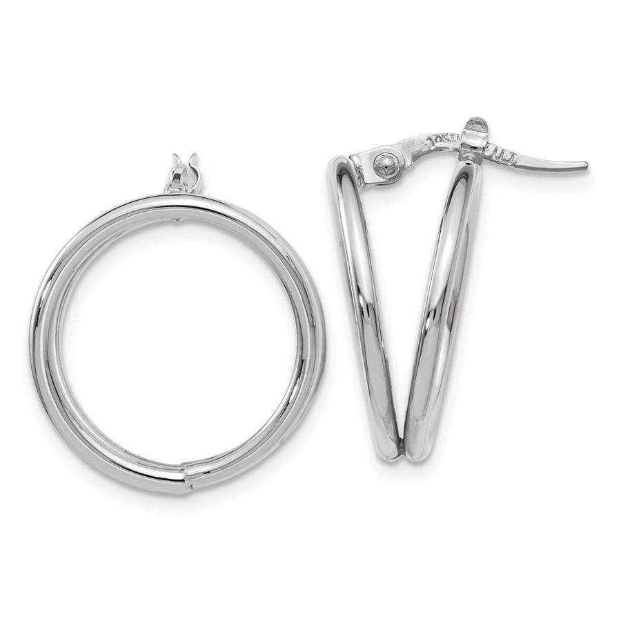 14K White Gold Polished Hoop Earrings - 19.75 mm