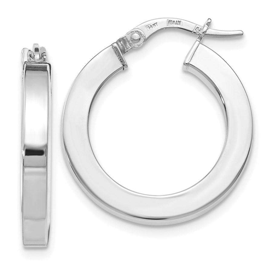 14K White Gold Polished Hoop Earrings - 22.5 mm