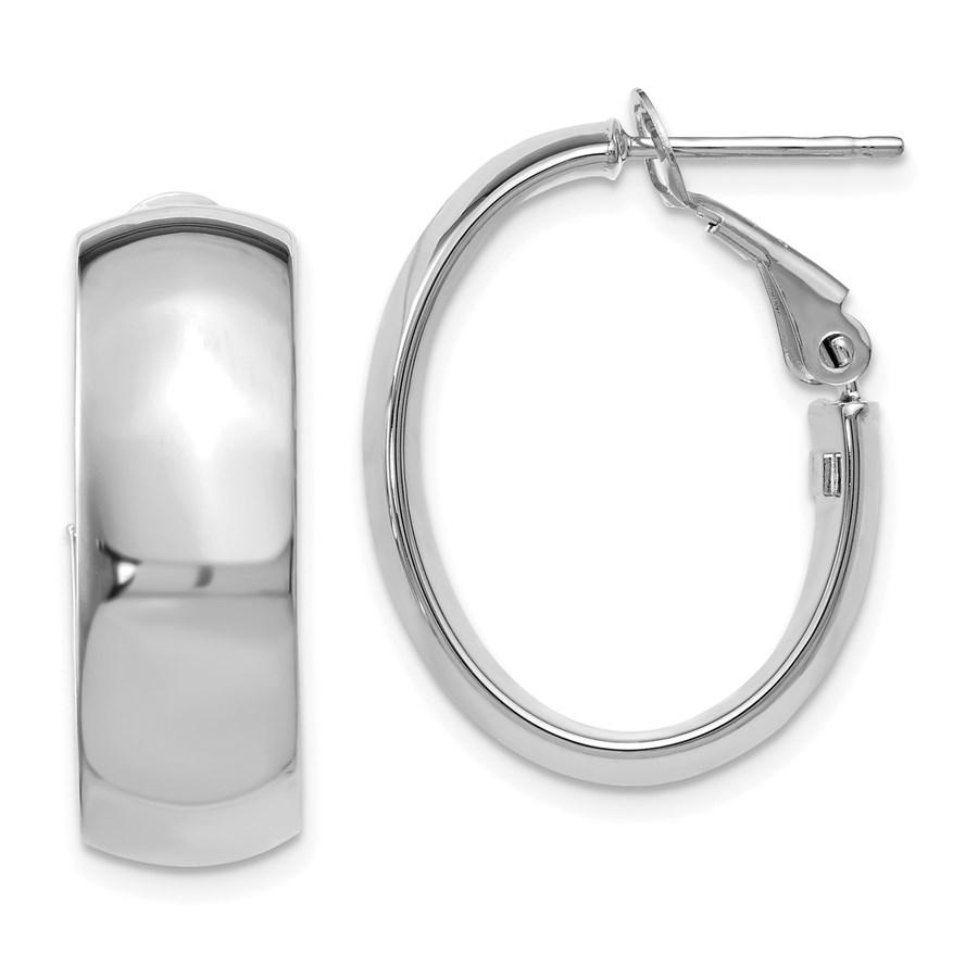 14K White Gold Polished Hoop Earrings - 24.5 mm