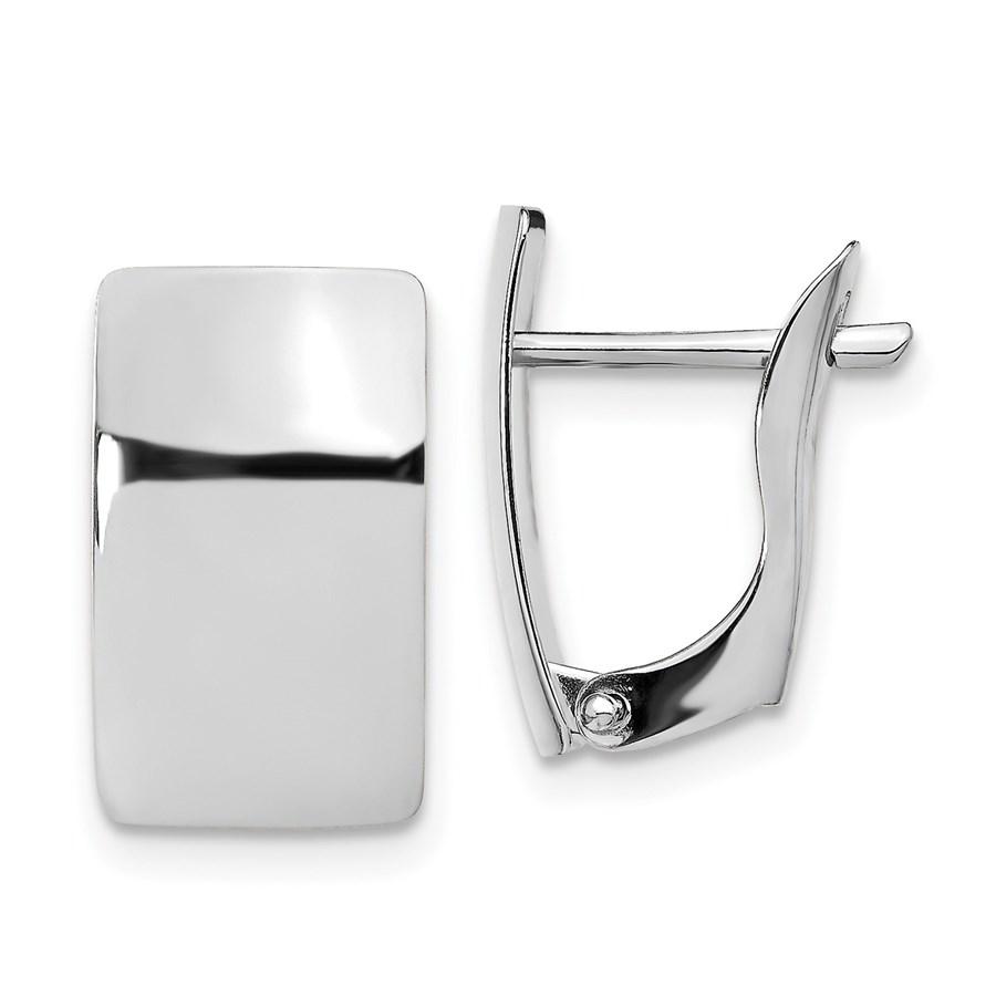 14K White Gold Polished Huggie Earrings - 15 mm