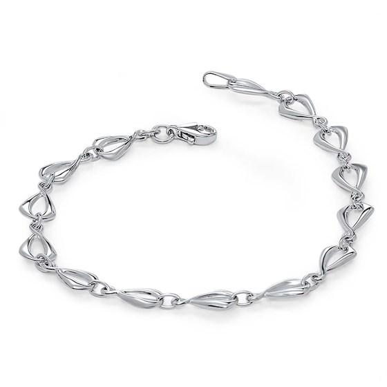 14k White Gold Polished Link Bracelet
