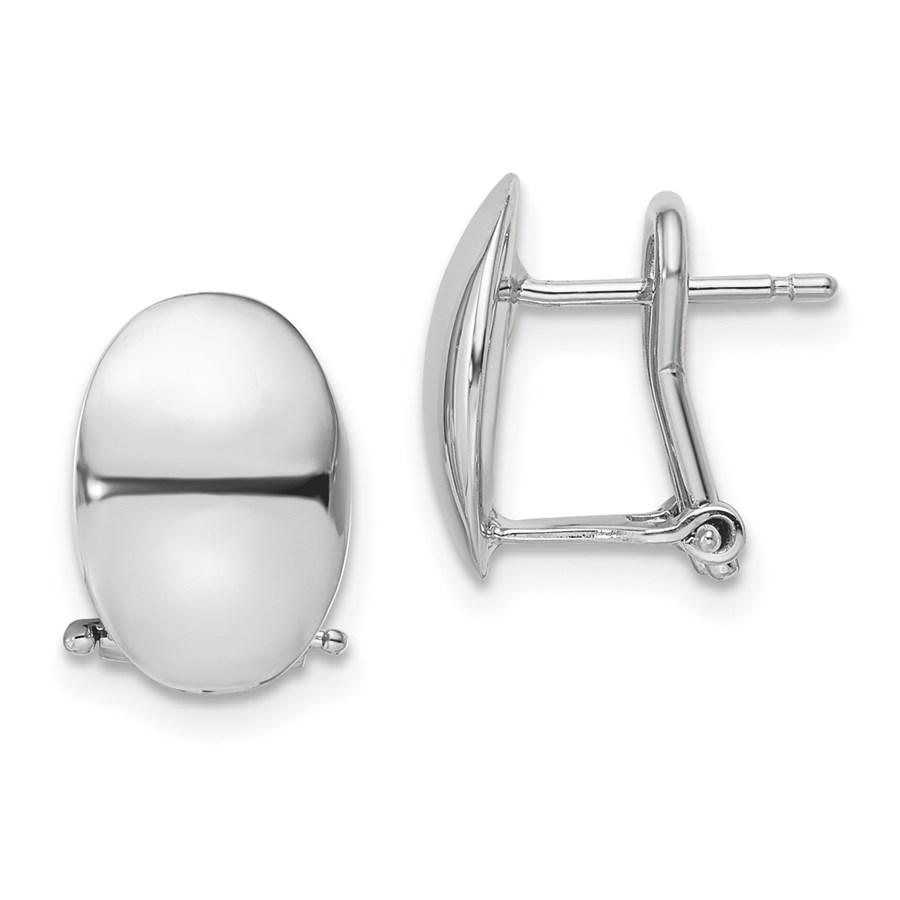14K White Gold Polished Omega Back Earrings - 12.5 mm