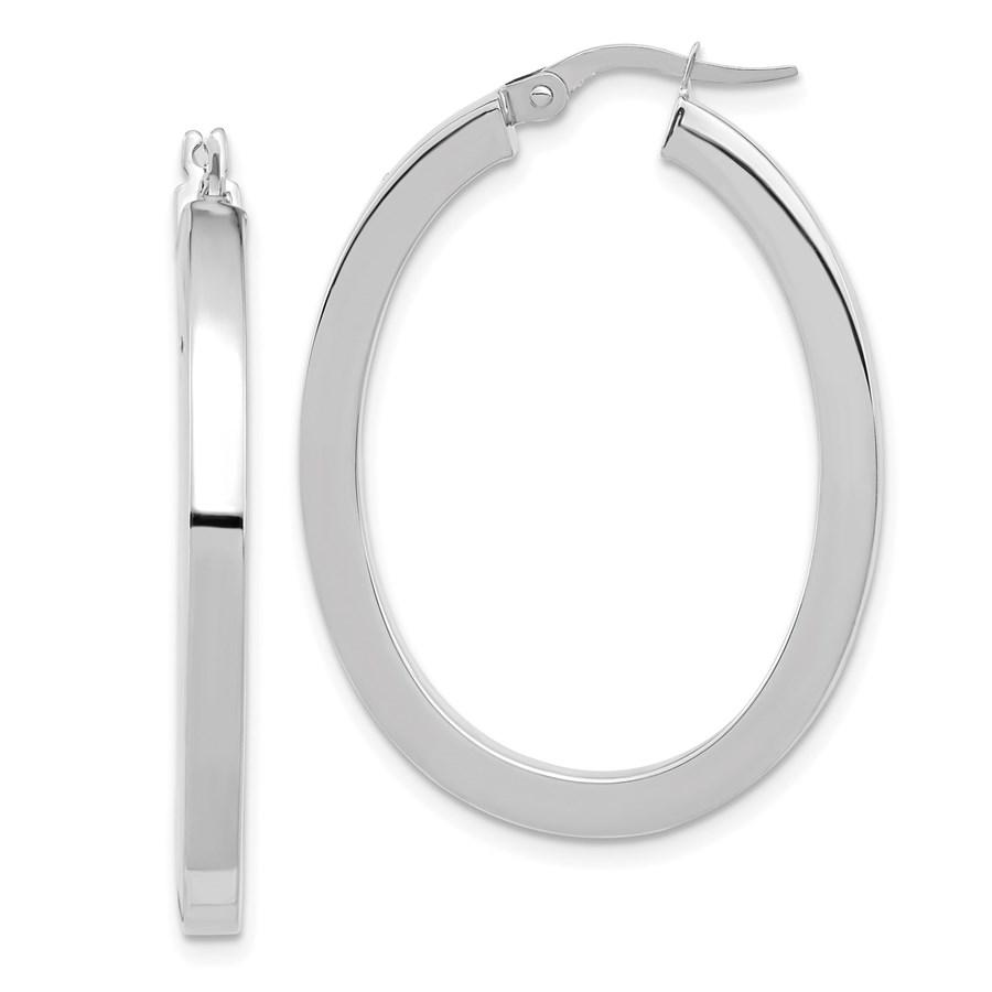 14K White Gold Polished Oval Hoop Earrings - 37.75 mm