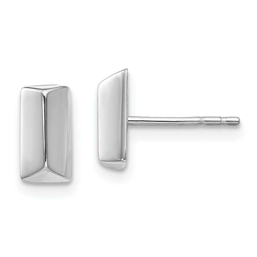 14K White Gold Polished Post Earrings - 8.6 mm