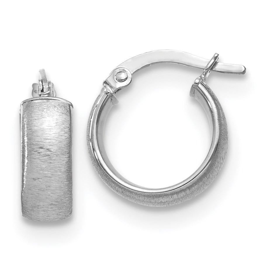 14K White Gold Polished & Satin Hoop Earrings - 15 mm