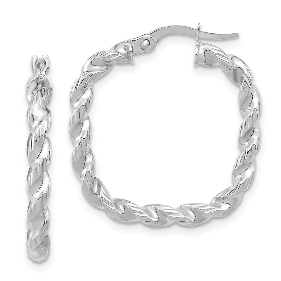 14K White Gold Polished Square Twisted Hoop Earrings - 26 mm