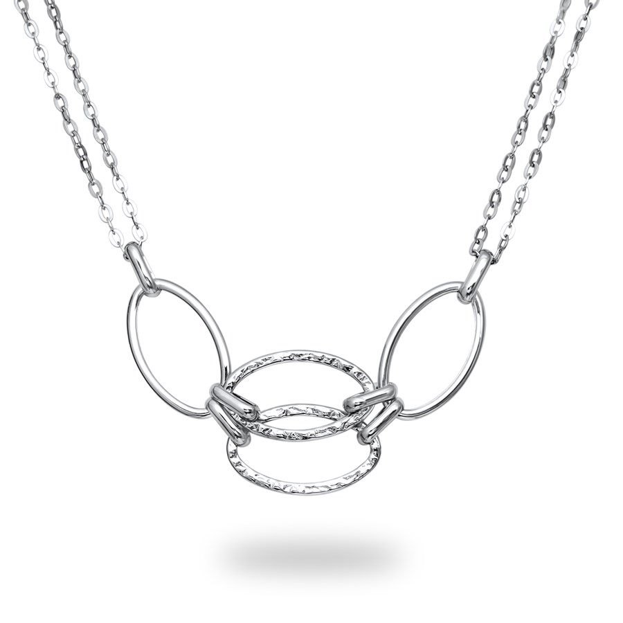 14k White Gold Polished & Textured Double Strand Link Necklace