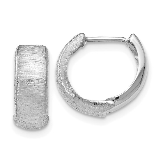 14K White Gold Polished & Textured Hinged Hoop Earrings - 13 mm