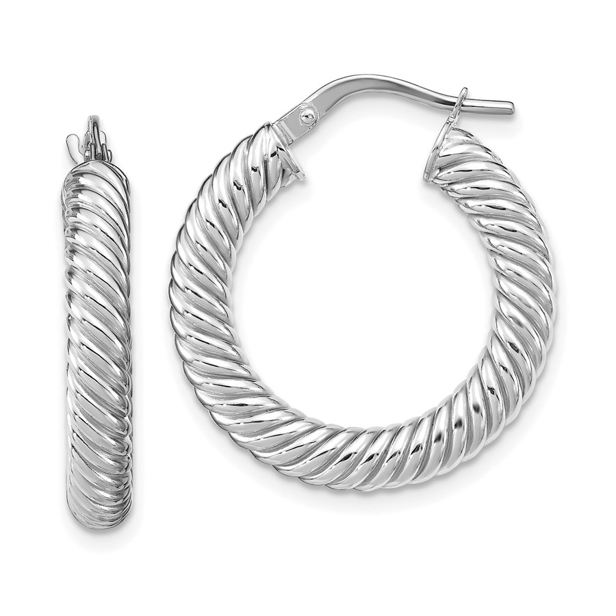 14K White Gold Polished Textured Hoop Earrings - 25.01 mm
