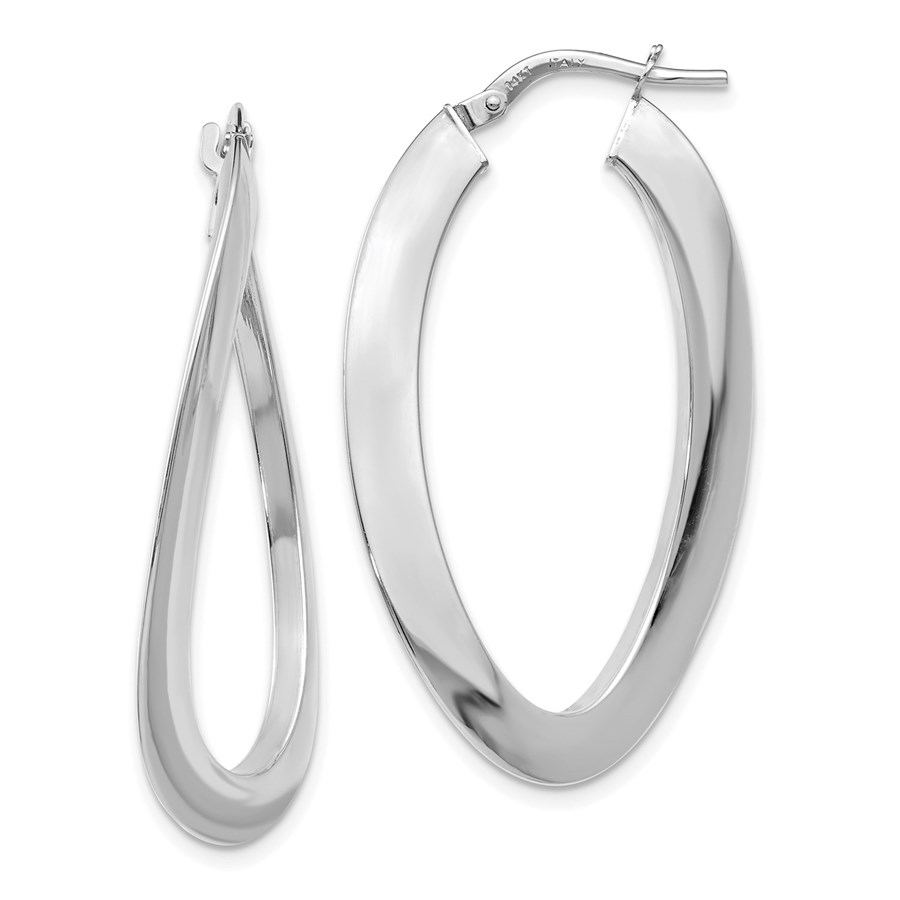 14K White Gold Polished Twisted Oval Hoop Earrings - 38 mm