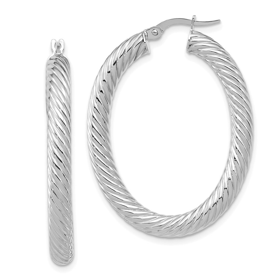 14K White Gold Polished Twisted Oval Hoop Earrings - 39.6 mm