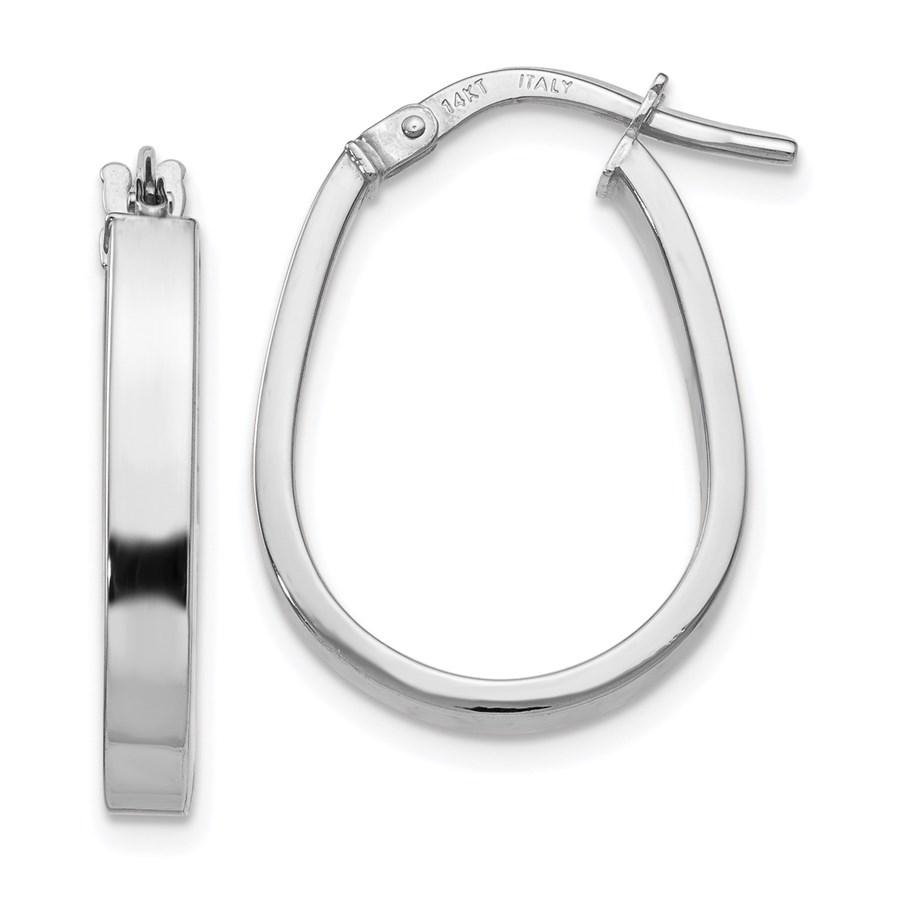 14K White Gold Polished U-Shape Hoop Earrings - 21 mm