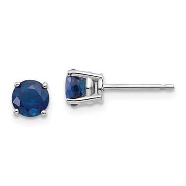 14k White Gold Sapphire Post Stud Earrings