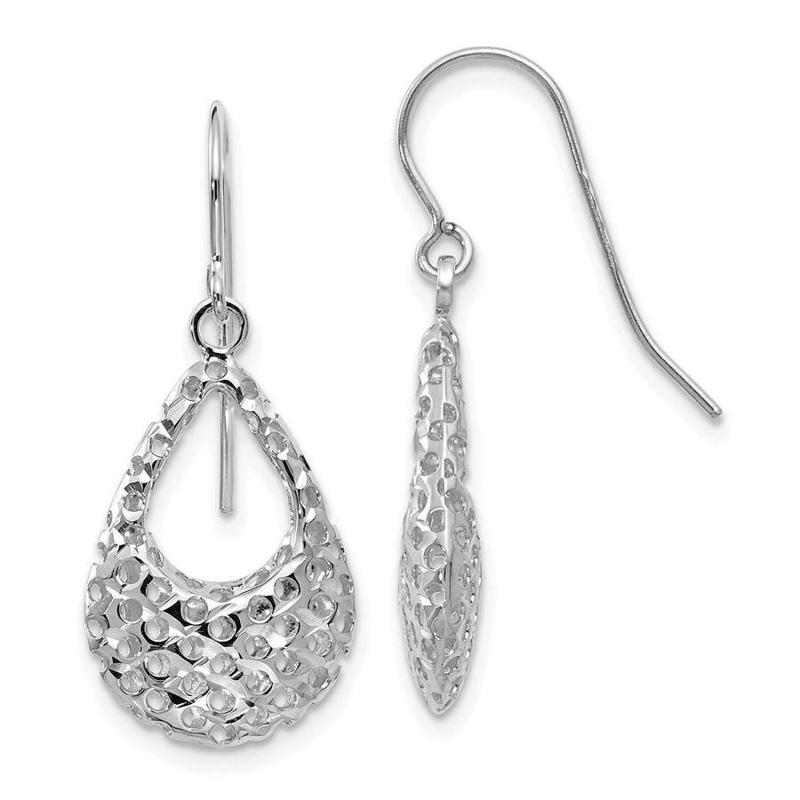 14K White Gold Shepherd Hook Earrings - 28 mm