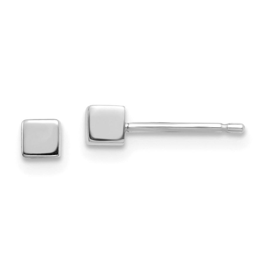 14k White Gold Square Stud Earrings