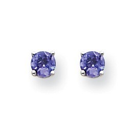 14k White Gold Tanzanite Post Earrings