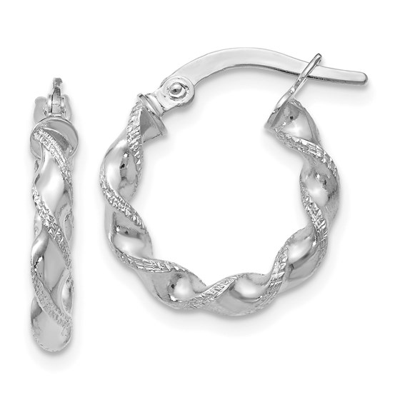 14K White Gold Twisted Hoop Earrings - 16 mm