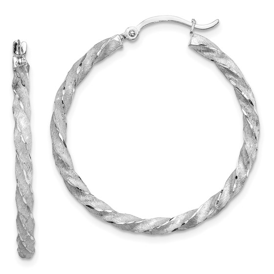 14K White Gold Twisted Satin Diamond-Cut Hoop Earrings - 33.5 mm