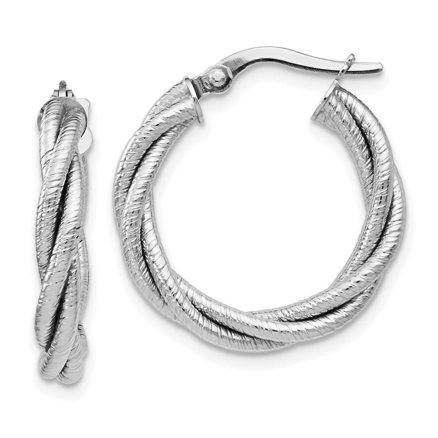 14K White Gold Twisted Triple Twist Hoop Earrings - 21 mm