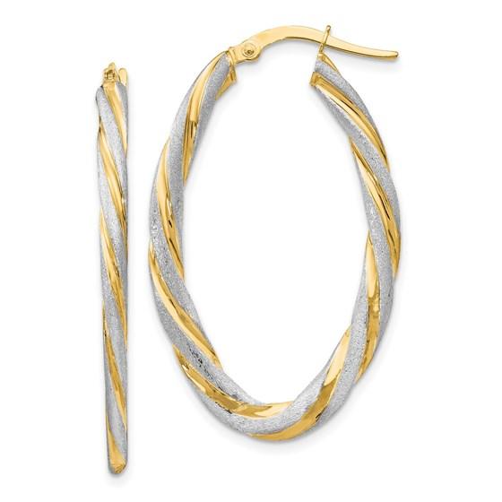 14K & White Rhod. Satin Twisted Oval Hoop Earrings - 38.5 mm