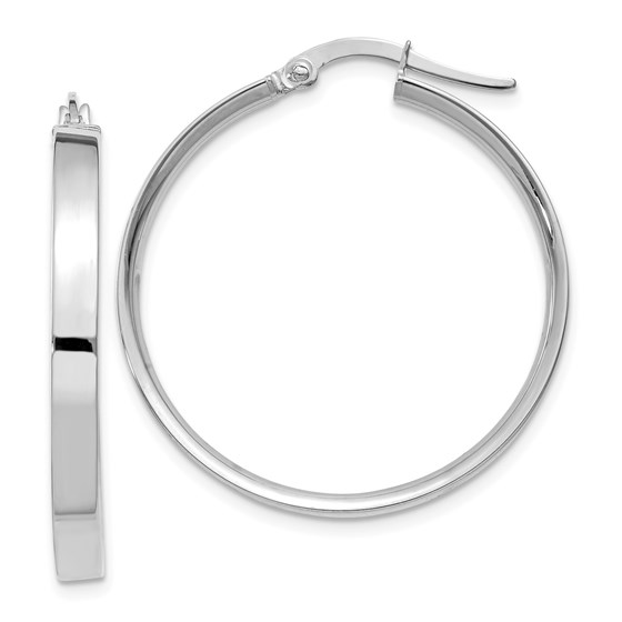 14k White Rhodium Hoop Earrings