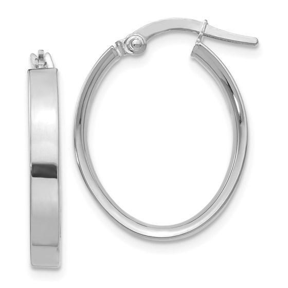 14k White Rhodium Oval Hoop Earrings