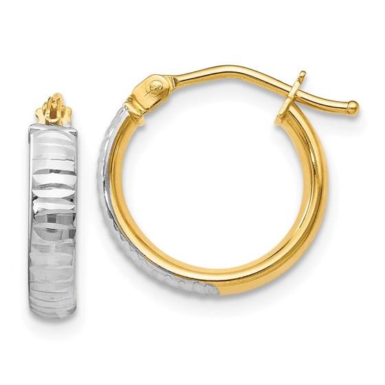 14K White Rhodium Polished & D/C Hoop Earrings - 14 mm