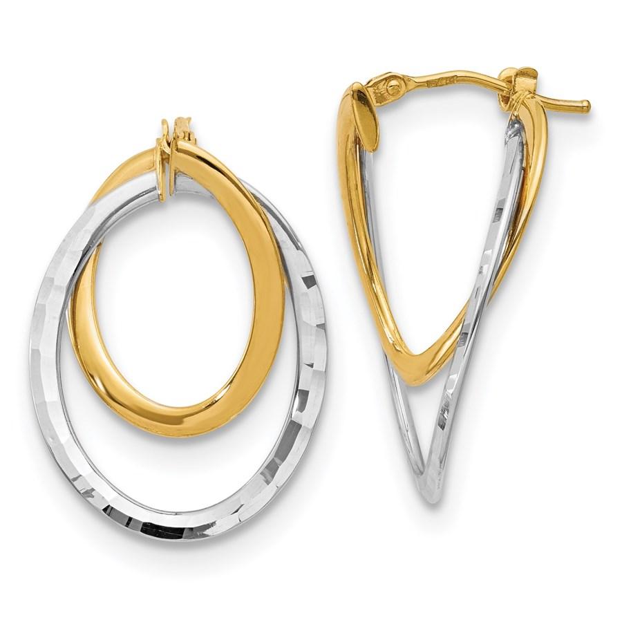 14K & White Rhodium Polished Fancy Hoop Earrings - 27 mm