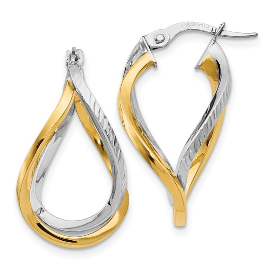 14K White with Yellow Rhodium D/C Twisted Hoop Earrings - 22 mm