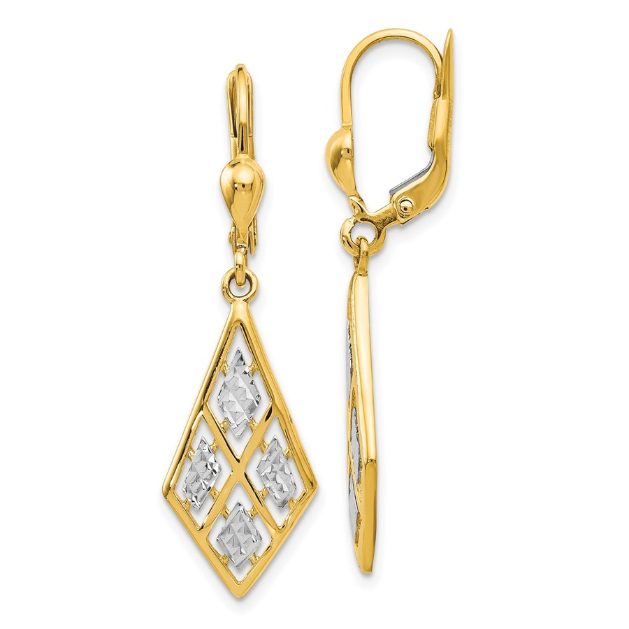 14K with Rhodium D/C Leverback Earrings - 37 mm