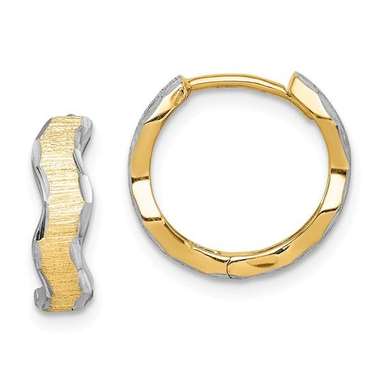 14k with White Rhodium D/C Texture Wave Hoop Earrings