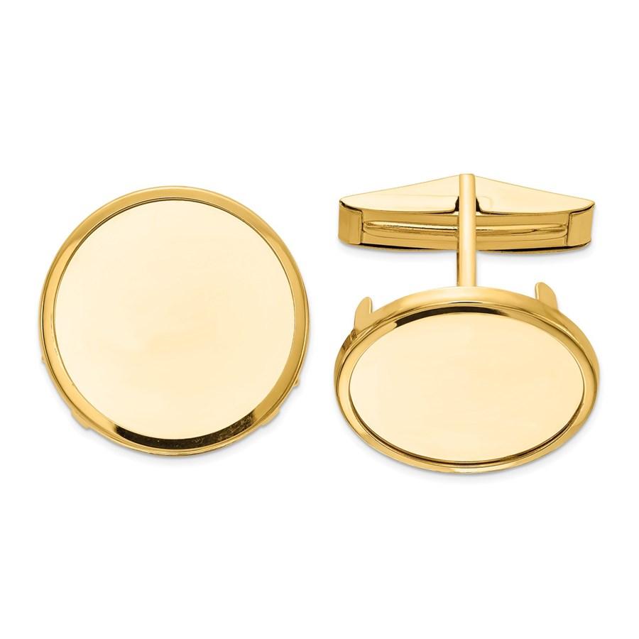 14k Yellow Gold 1/10 oz Panda Polished Plain Bezel Cuff Links