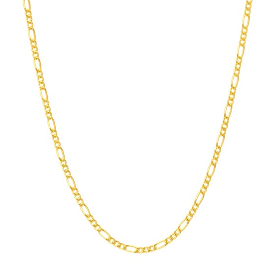 14K Yellow Gold 1.28mm Concave Link Figaro Chain - 20 in.
