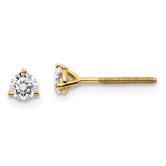 14k Yellow Gold 1/3ct Lab Grown Diamond 3-Prong Earring