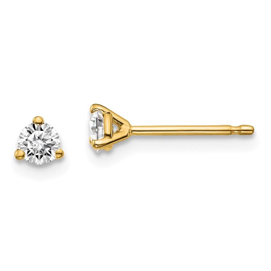 14k Yellow Gold 1/4ct Cert Lab Grown Diamond 3-Prong Earring