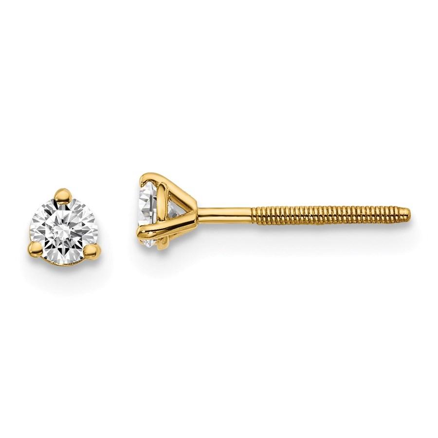 14k Yellow Gold 1/5ct Cert. Lab Grown Diamond 3-Prong Earring