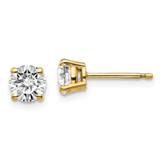 14k Yellow Gold 1ct Cert Lab Grown Diamond 4-Prong Earring