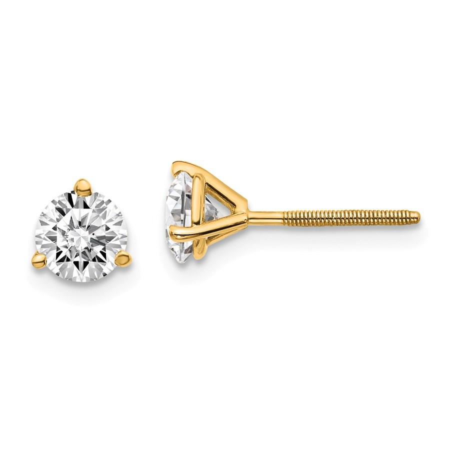 14k Yellow Gold 1ct Lab Grown Diamond 3-Prong Earring