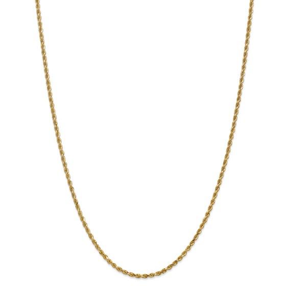14k Yellow Gold 2.25 mm Diamond Cut Rope Chain - 28 in.